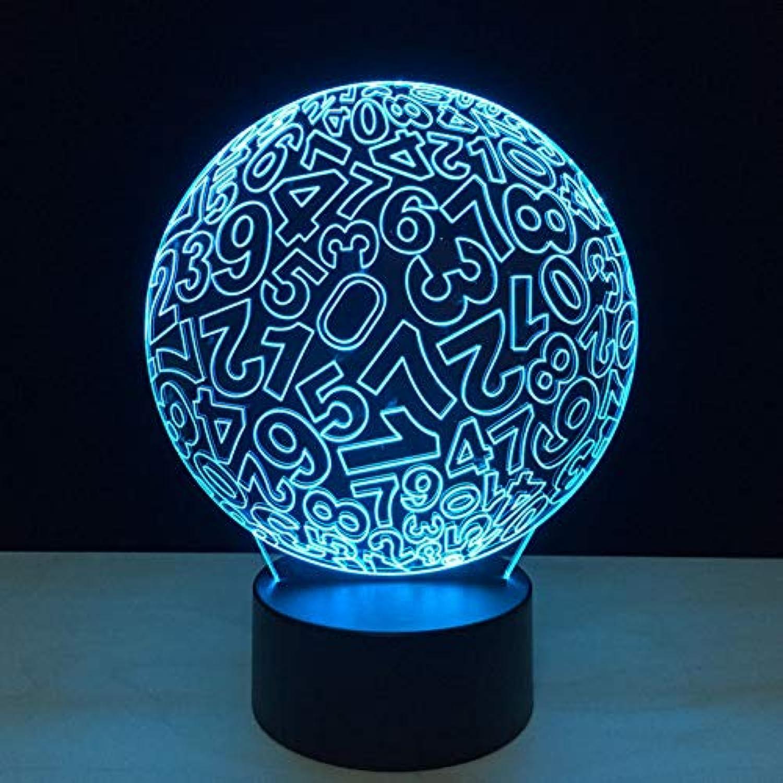 Wuqingren Wohnkultur Kinder Schlafzimmer Beleuchtung Digital Ball 3D Nachtlicht Kind Touch Schalter Bunte Gradienten Stimmung Tischlampe Geschenk,Remote und berühren