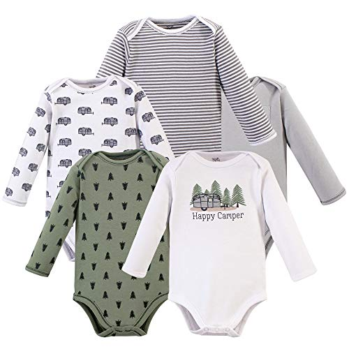 Touched by Nature Baby Organic Cotton Long-Sleeve Bodysuits, Happy Camper, 3-6 Months