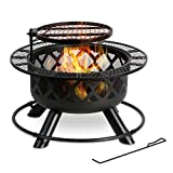 BALI OUTDOORS Wood Burning Fire Pit, 32 Inch Outdoor Backyard Patio Fire Pit with 24 Inch Cooking Grill Grate, Black