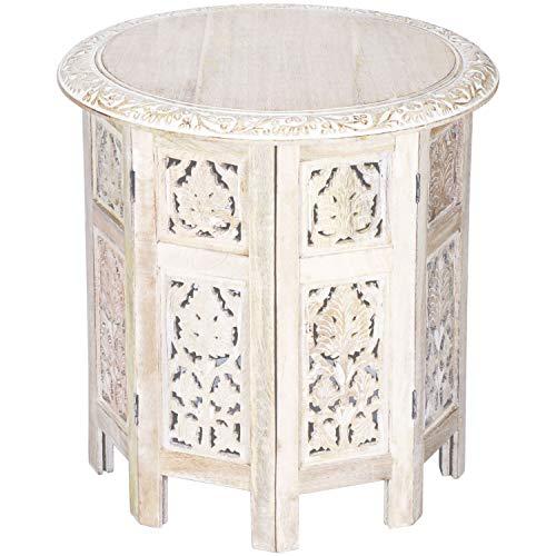 Marokkanischer Tisch Beistelltisch aus Holz Ashkar Weiss ø 45cm groß rund | Orientalischer runder Hocker Blumenhocker orientalisch klein | Orientalische runde kleine Beistelltische klappbar