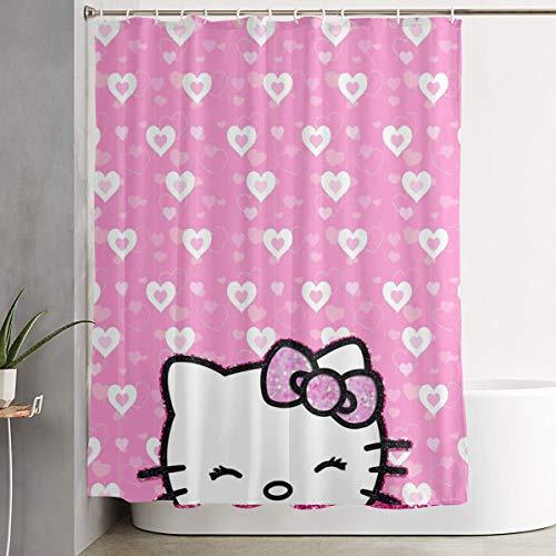 LIUYAN Duschvorhang mit Haken – Hello Kitty Wasserdichter Polyester-Stoff Badezimmer-Dekoration 152,4 x 182,9 cm