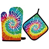 FHTDH Suministros de cocina, guantes de horno y juegos de ollas Watercolor Tie Dye Texure Oven Mitts Quilted Cotton Lining Potholders BBQ Gloves-Oven Mitts and Pot Holders Heat Resistant Kitchen Glove