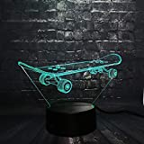lampe 3d,3D Skateboard Cool Sport Led Veilleuse Bureau Lampe De Table Chambre À...