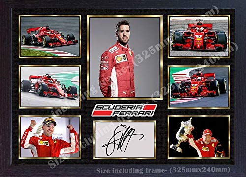 SGH SERVICES 2018, Sebastian Vettel Ferrari, signiertes Autogramm, Memorabilia, MDF-Rahmen
