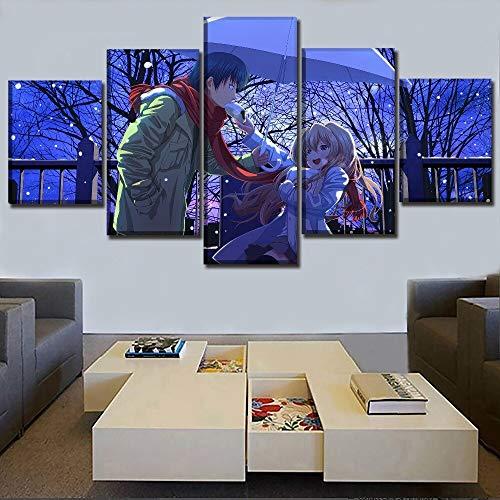 Hauptdekoration Leinwanddruck Wandkunst Bild Anime Drache und Tiger! Poster Wandkunst Modular Picture Family Pack 5 Panels Bild gestreckt und gerahmt Kunstwerk Öldekoration Landschaft Fotodruck 40