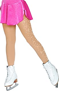 Chloe Noel Figure Skating Medium Tan Footed Tights TF8830 w/Crystal Medium Tan Adiult Large