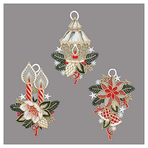 3er Set gestickte Winter-Fensterbilder Laterne, Kerze und Weihnachtsstern hochwertige Fensterdekoration aus echter Plauener Spitze