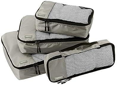 AmazonBasics 4 Piece Packing Travel Organizer Cubes Set - Grey