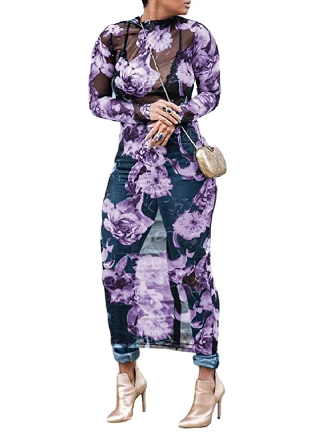 Yeshire Women's Sexy See Through Mesh Floral Print Casual Maxi Dress Cover-up