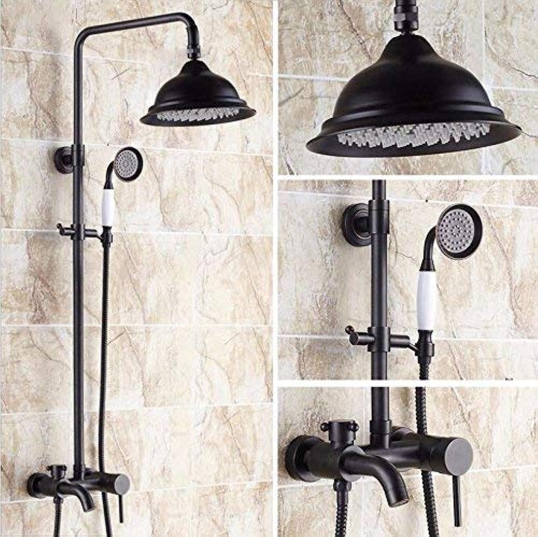 GFF Dusche Dusche European Retro Shower Set Alle Kupfer Schwarz Bronze mit Hebebad Dusche Handbrause Dusche Mischbatterie