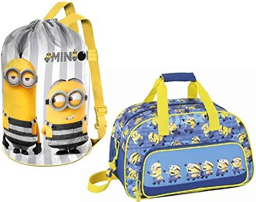 rainbowFUN.de Minions Sport Bag And Sports Bags Children Yellow Blue
