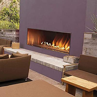 White Mountain Hearth by Empire Carol Rose 48-Inch Vent Free Propane Gas Outdoor Linear Fireplace W/Manual Electronic Ignition & LED Light System - OLL48FP12SP