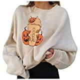 Kanzd Halloween Graphic Sweatshirts for Women Fashion Crewneck Loose Fit Casual Long Sleeve Cute Pumpkin Pullover Sweaters Beige