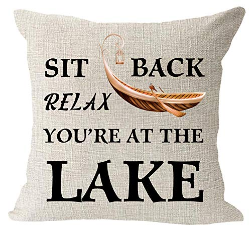 """Sit Back Relax You're at The Lake Boat Pattern Outdoor Gift for RV Camping Hiking Cotton Linen Square Throw Waist Pillow Case Decorative Cushion Cover Pillowcase Sofa 18""""x 18"""""""