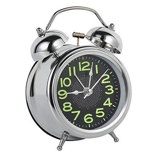 LOOPIG Reloj despertador retro silencioso puntero relojes doble campana fuerte reloj despertador noche luz de noche decoraciones del hogar