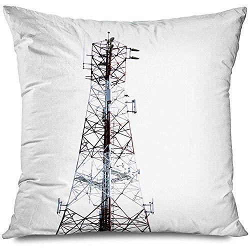Aoyutiy Gooi Kussen Cover Blauw Antenne Telecommunicatie Toren Cel Bandbreedte Broadcast Kanaal Communicatie Aansluiting Rits Kussensloop