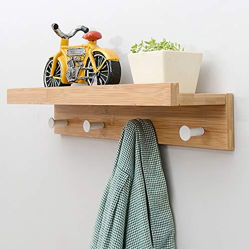 Rek met haken van massief hout, creatief wandrek, drijvende rekken met haken voor keukengerei voor badkamer 12x8x48.5m Dark Wood Color