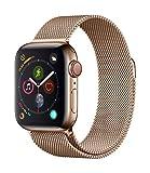 Apple Watch Series 4 GPS + Cellular, 40mm Edelstahlgehäuse, Gold, mit goldener Milanese-Öse
