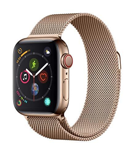 AppleWatch Series4 (GPS+Cellular) con caja de 44mm de acero inoxidable en oro y pulsera Milanese Loop en el mismo tono