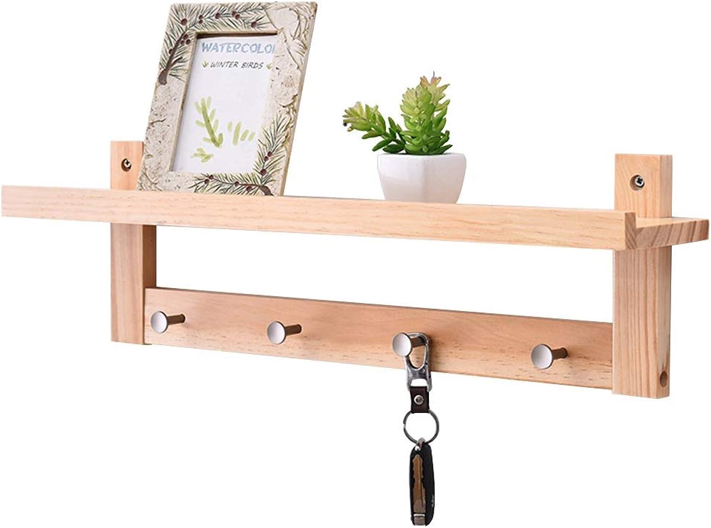 Feifei Wall-Mounted Coat Rack Solid Wood Creative Bedroom Living Room Multi-Function Storage Rack Hanger, 4 Sizes (Size   60  12  18cm)