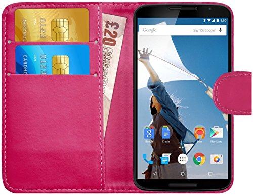 G-Shield Hülle für Google Nexus 6 Klapphülle mit Kartenfach - Rosa