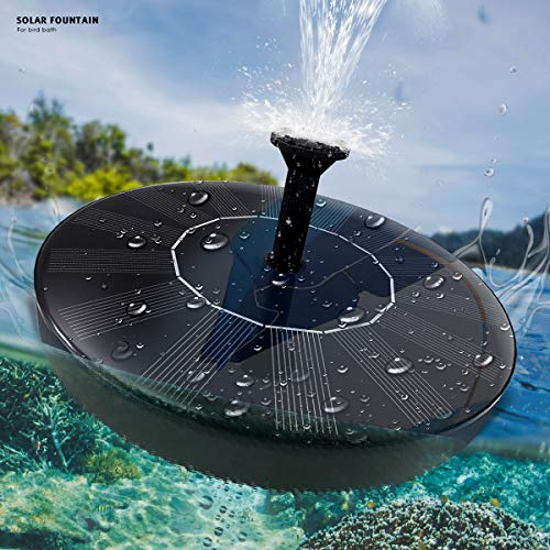 Solar Fountain Water Pump for Bird Bath,New Upgraded Mini Solar Powered Fountain Pump 1.5W Solar Panel Kit Water Pump,with 4 Different Spray Pattern Heads, for Pond, Pool, Garden, Fish Tank, Aquarium