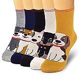 SUNWIND 5 Pares de Calcetines Femeninos de Dibujos Animados, Calcetines de Algodón Cálidos y Bonitos EU35-40 (Serie perro)