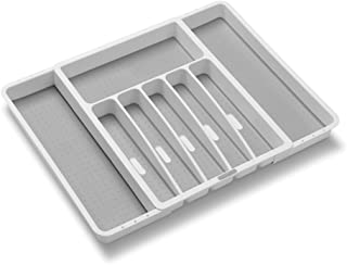 Madesmart Expandable Silverware Tray-White | Classic Collection | 8-Compartments | Icons to Help sort Flatware, Cutlery, Utensils | Soft-Grip Lining | BPA-Free
