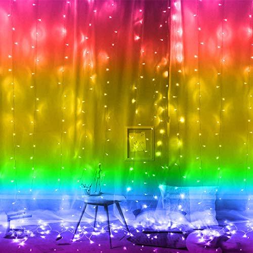 Greenke String Lights Curtain String Lamp LED Christmas Lights USB Remote Light Curtain Fairy String Lights for Bedroom Indoor String Light Wall Decor (Rainbow Colorful)