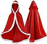 LUOWAN Capa, Larga, con Capucha, Unisex, Adulto, Terciopelo, usada en Disfraces, Carnaval y Navidad, 80-150 cm, Apta para Altura 100-190 cm (80 cm, incluida la Altura del Sombrero)