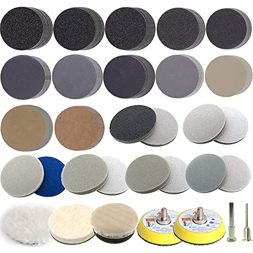 139pcs Sandpaper 2 Inch Sanding Disc 60-10000 Grit with 1/4 in & 1/8 in Shank Backing Pad, 12pcs Sponge Disc, Wool Wheel Sanding Disc Pad Kit for Wood Mirror Jewelry Car Drill