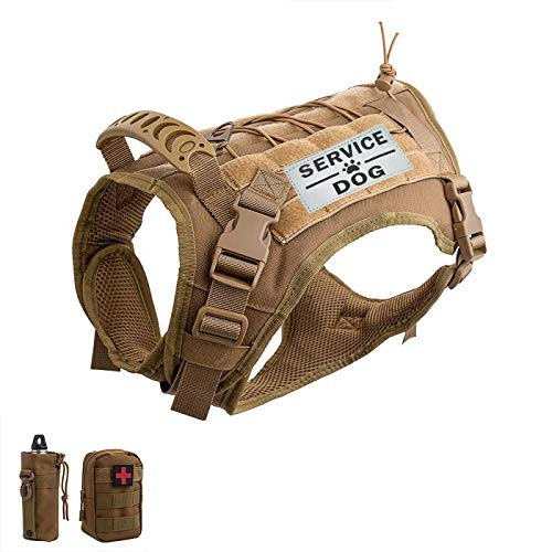 Hanshengday Tactical Dog Vest-Training Outdoor Breathable Harness-Military Water-Resistant Dog Backpack-Pet Tactical -Vest Detachable Pouches-D Ring for Dog Leash