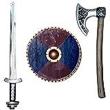 Spassprofi Wikinger Set Kinder Schwert Schild + Axt Wikingerschwert Wikingeraxt Waffen