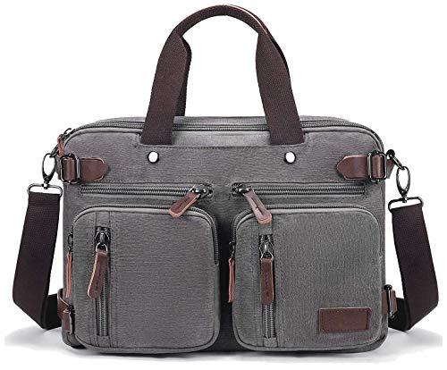 Fresion Canvas Arbeitstasche Aktentasche Rucksack - Vintage Laptoptasche Umhängetasche wandelbar in einen Rucksack, Retro Schultasche Lehrertasche, 14-Zoll-Schultertasche für Herren Arbeits, Grau
