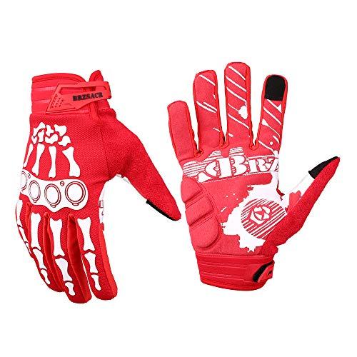 BRZSACR Fahrradhandschuhe MTB Vollfinger-Mountainbike-Handschuhe Gel gepolstert für Mountainbike-Rennsport-Touchscreen-Handschuhe (Rot, L)