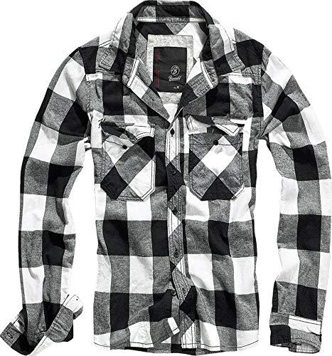 Brandit Check Shirt Herren Baumwoll Hemd XXL Weiss-schwarz