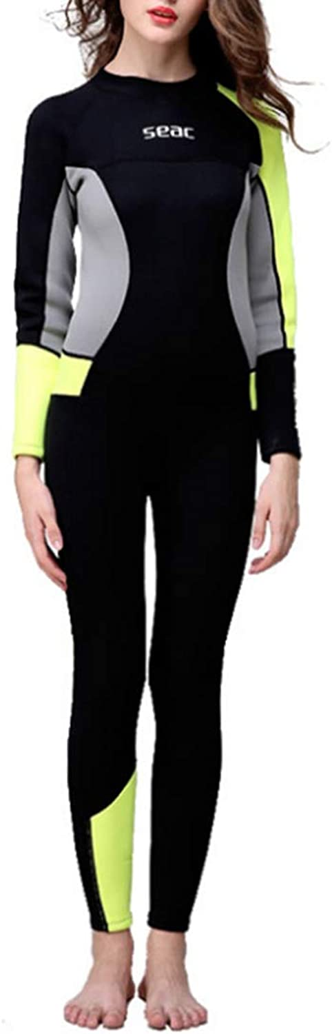 Saalising UV Predection Women's Full Body Wetsuit Black Green and Grey Back Zip Full Diving Suits Sports Skins for Diving,Snorkeling and Swimming