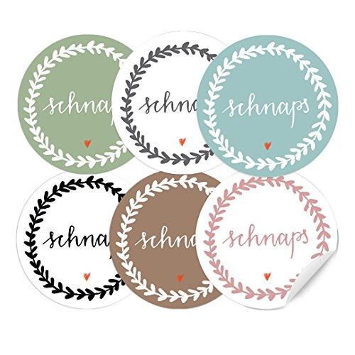 24 runde Aufkleber Schnaps, MATTE Papieraufkleber in schönem Pastell Mix Tusche, Etiketten für selbstgemachten Schnaps, Punsch, Likör, Selbstgebranntes, zu Weihnachten oder Ostern