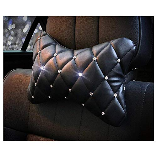 Siyibb 1 Pc Crystal Leather Car Headrest Neck Cushion Pillow Support with Rhinestones Decor
