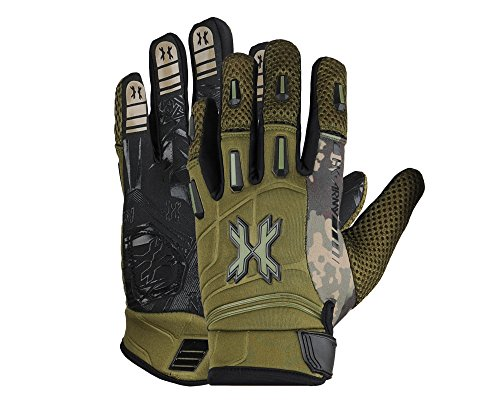 HK Army FULL FINGER Hardline Paintball Gloves (Olive HSTL Camo, Medium)