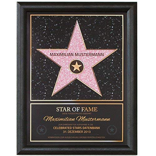 GOODS+GADGETS Persönlicher Hollywood Stern Walk of Fame Stil - Star of Fame Urkunde mit Name und Holzrahmen 46 x 36cm