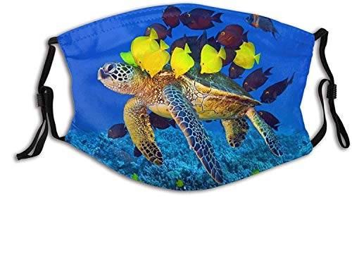Fashion Face Mask with Filter Pocket Washable Face Bandanas Balaclava Reusable Fabric Mask with 2 Pcs Filters-Tropical Sea Turtle Fish Ocean Blue-One Size