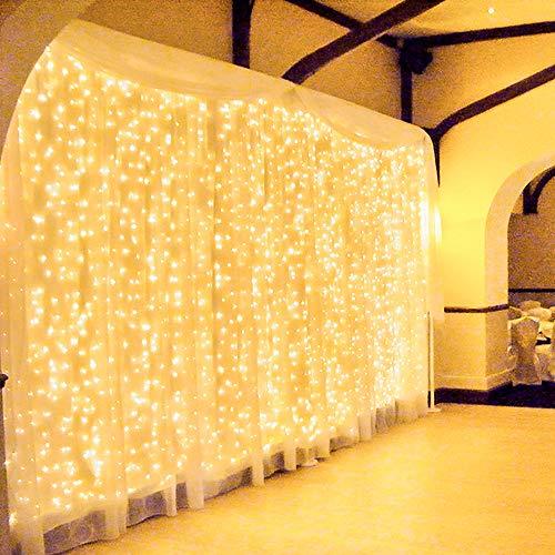 600 LED 6Mx3M Zorela Tenda Luminosa Natale Esterno Interno Collegabili Luci di Natale Impermeabile con 8 Modalità Tenda Luminosa Esterno Bianco Caldo Tenda di Luci per Natale, Giardino e Matrimonio