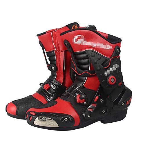 ZOULME Hombres y Mujeres en Carreras de Carreras Botas de Moto Impermeable Motocicleta Botas de Cuero largas blindadas Touring Sport Touring Zapatos-Rojo_43