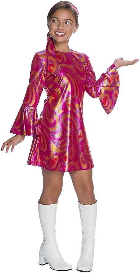 60s 70s Kids Costumes & Clothing Girls & Boys Disco Diva Fuchsia Swirl Costume for Kids  AT vintagedancer.com