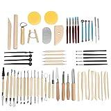 Gaoominy 62 Piezas Herramientas de CeráMica Conjunto de Escultura de Arcilla Kits de Herramientas de Limpieza de Arcilla Kit de Pintura de Roca para Escultura ArtesaníAs de Arte de CeráMica