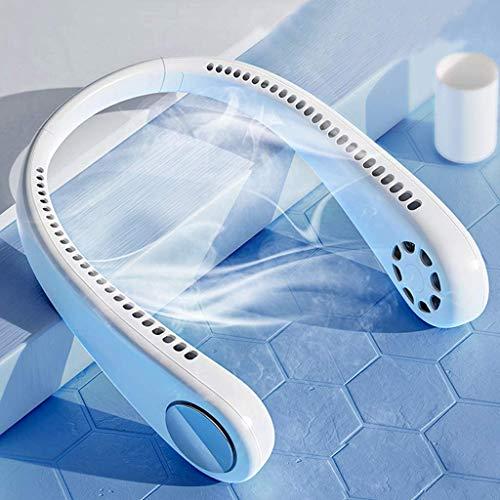 Ventilador Personal Portáti- Mini Ventilador de Manos Libres Mini Ventilador USB Recargable Ventilador de Banda para el Cuello, Ventilador de Refrigeración con Doble Cabeza de Viento