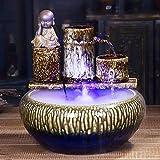 Accesorios de construcción Fuentes de interior Fuente de escritorio de cerámica Zen y pecera Humidificación de niebla de agua Fuente de interior Sala de estar Decoración de escritorio para el hogar