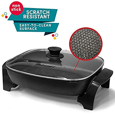 "Elite Gourmet EG-6203 Non-Stick Deep Dish Heavy Duty Electric Skillet with Tempered G Easy-Pour Spout, Dishwasher Safe, 1500W, 16"", Black"