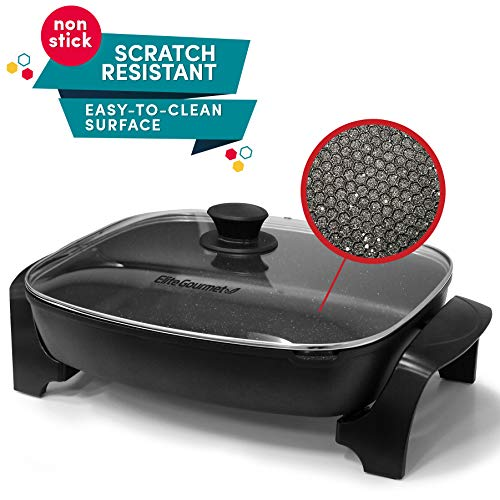 "Maxi-Matic Non-stick Deep Dish Heavy Duty Electric Skillet with Tempered Glass Vented Lid and Easy Pour Spout, Dishwasher Safe, 1500W, 8 Quart, 16"" x 13"" Rectangle, Black"
